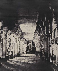 The Great Pagoda. The outer prakarum, or corridor around the temple of the god Sundareshawara [Minakshi Sundareshvara Temple, Madurai]